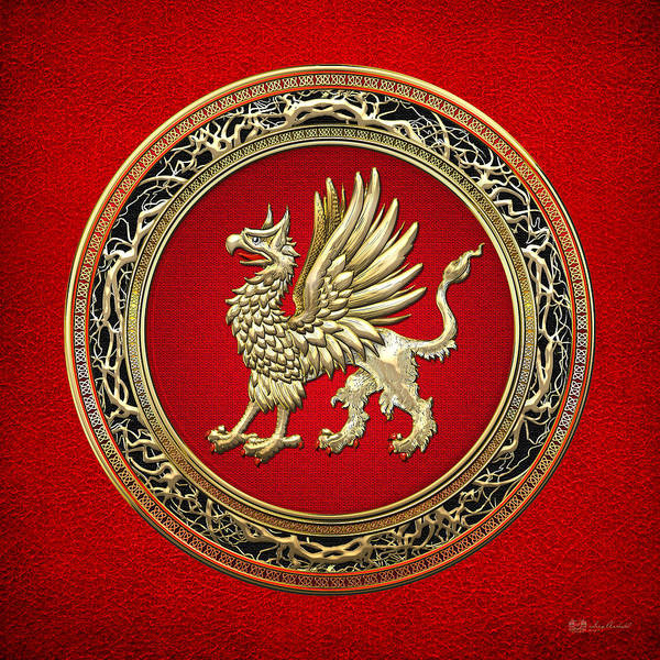 Digital Art - Sacred Gold Griffin On Red Leather  by Serge Averbukh