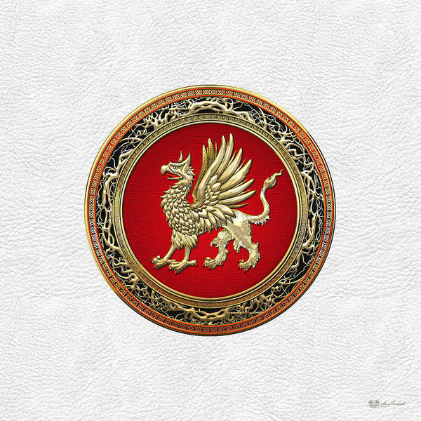 Digital Art - Sacred Gold Griffin On White Leather  by Serge Averbukh