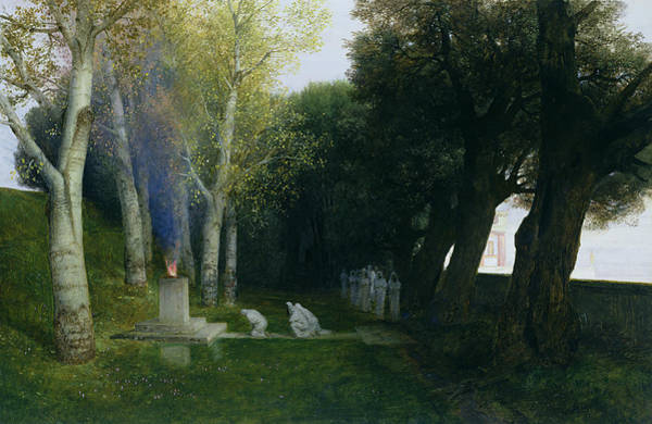 Offering Photograph - Sacred Grove, 1886 Oil On Panel by Arnold Bocklin