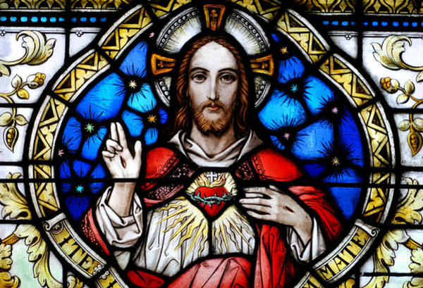 Sacred Heart Photograph - Sacred Heart Of Jesus In Stained Glass by Philip Ralley