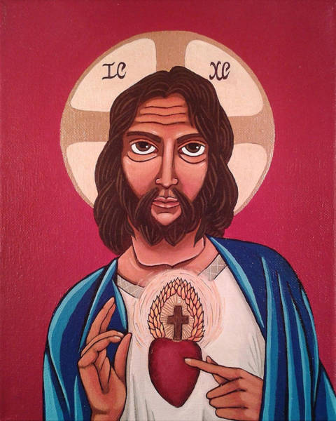 Greek Icon Painting - Sacred Heart Of Jesus by Susan Howard