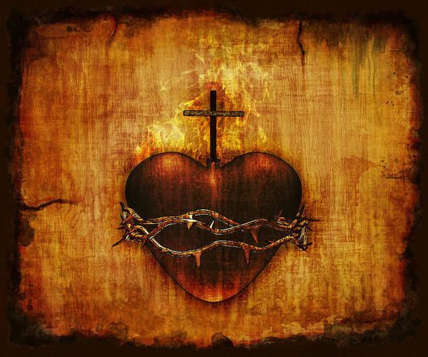 Sacred Heart Digital Art - Sacred Heart On Parchment by Linda Bucklin