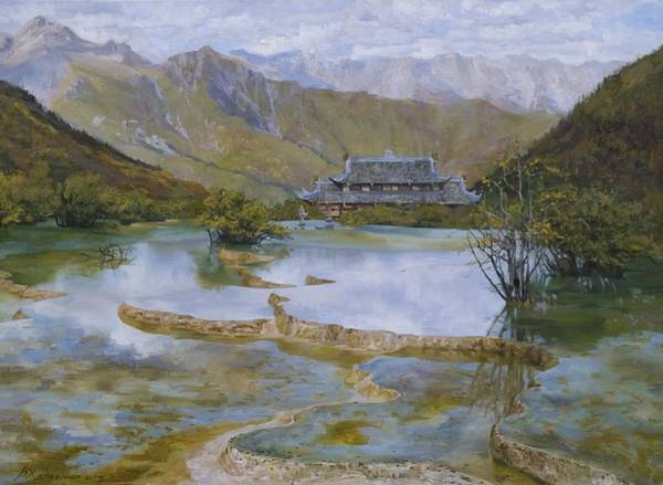 Wall Art - Painting - Sacred Lakes by Victoria Kharchenko