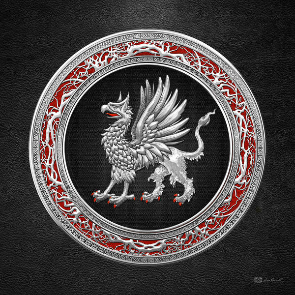 Amulet Digital Art - Sacred Silver Griffin On Black Leather by Serge Averbukh