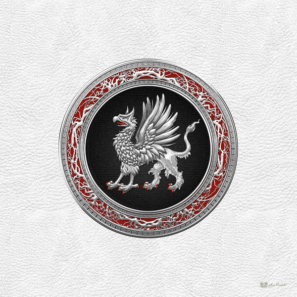 Amulet Digital Art - Sacred Silver Griffin On White Leather by Serge Averbukh