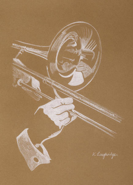 Music Wall Art - Pastel - Sacred Trombone by Karen  Loughridge KLArt