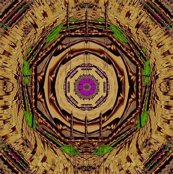 Temple Mixed Media - Sacred Wodden Floral Mandala Temple by Pepita Selles