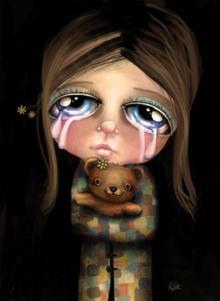 Crying Digital Art - Sad Eyes by Karin Taylor