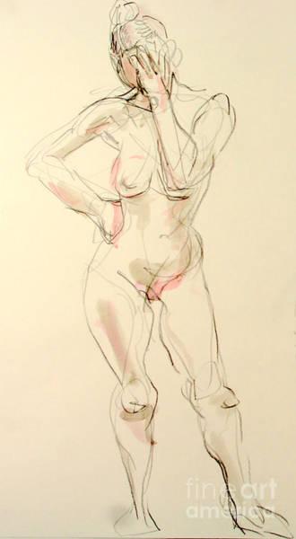 Nipples Drawing - Sad Sara by Andy Gordon