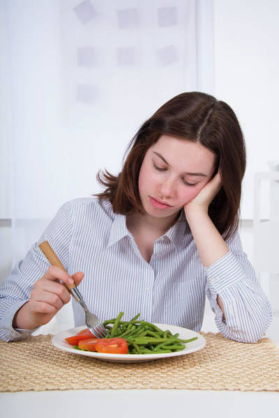Disgusting Photograph - Sad Teenage Girl With Plate Of Vegetables by Lea Paterson/science Photo Library