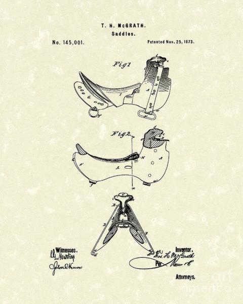 Drawing - Saddle 1873 Patent Art by Prior Art Design