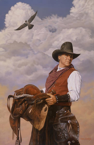 Painting - Saddle 'em Up by Ron Crabb