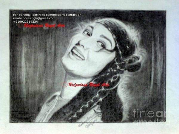 Bollywood Wall Art - Drawing - Sadhana Bollywood Actress by Mahendrasingh Rajput