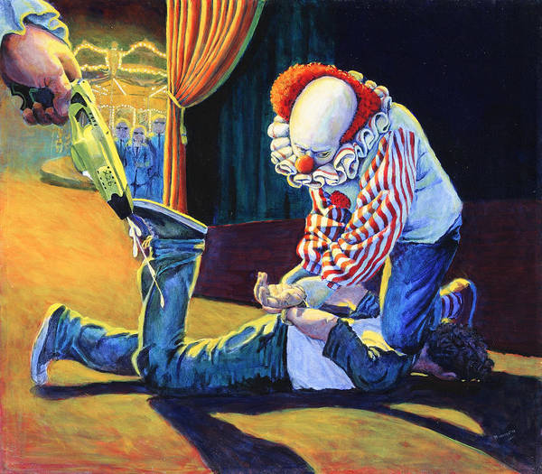 Social Commentary Painting - Sadistic Clowns by Mike Walrath