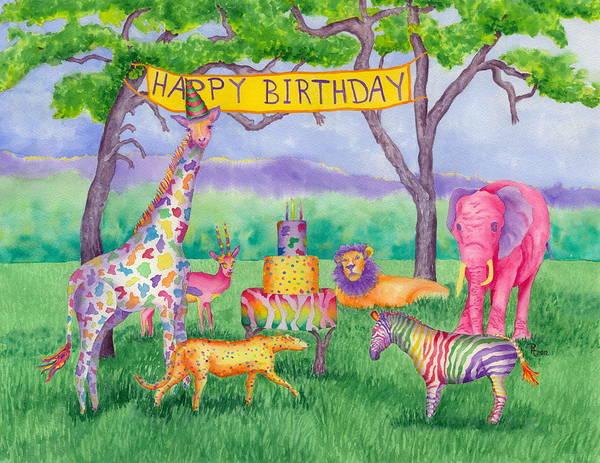 Zebra Cake Wall Art - Painting - Safari Party by Rhonda Leonard