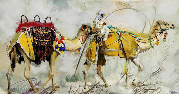 Camel Painting - Safari Ride by Corporate Art Task Force