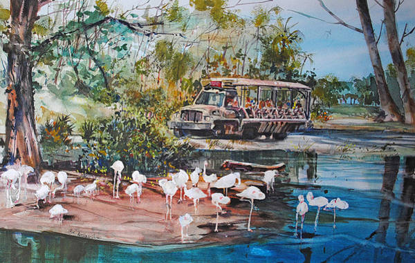 Stork Painting - Safari Ride by P Anthony Visco