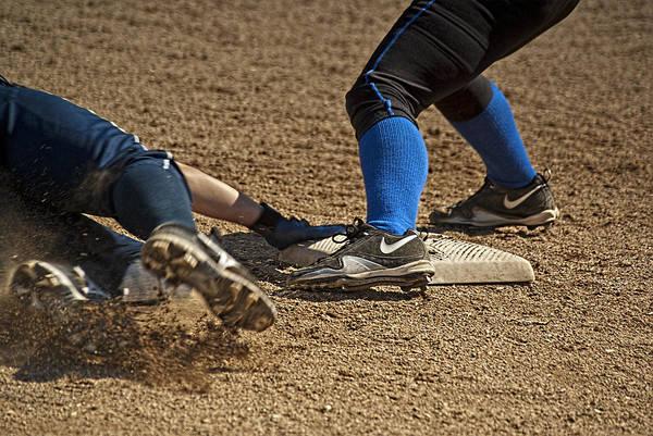 Softball Photograph - Safe At 3rd by Dale Stillman