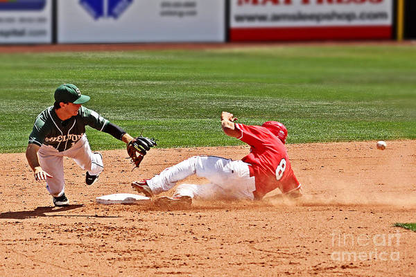 College Baseball Photograph - Safe At Second by Bob Hislop