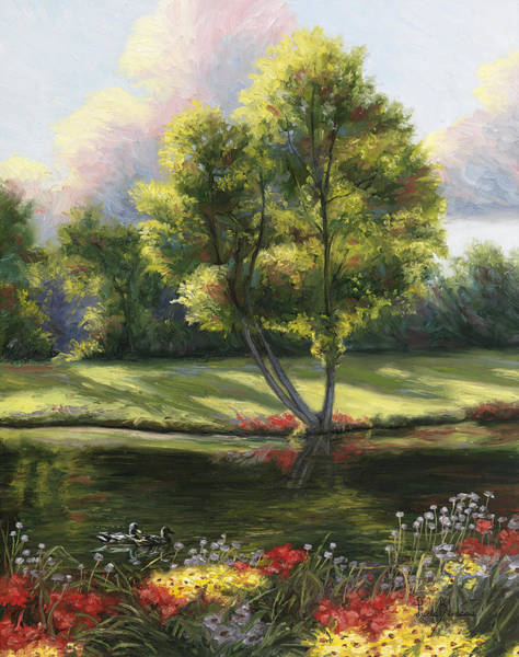 Pond Painting - Safe Haven 2 by Lucie Bilodeau
