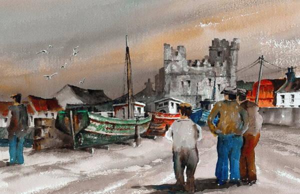Painting - Safe Return Slade Harbour Wexford by Val Byrne