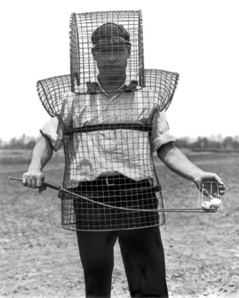 Photograph - Safety Cage For Caddies by Underwood Archives