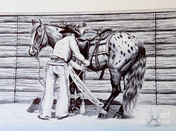 Appaloosa Drawing - Ole Timers Lessons In Breaking Horses  by Cheryl Poland