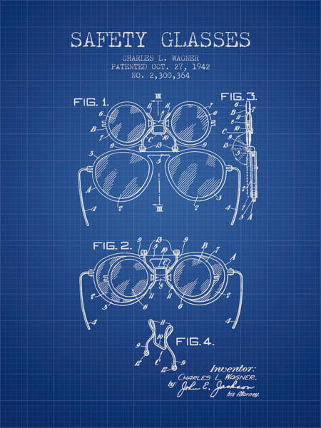 Wall Art - Digital Art - Safety Glasses Patent From 1942 - Blueprint by Aged Pixel