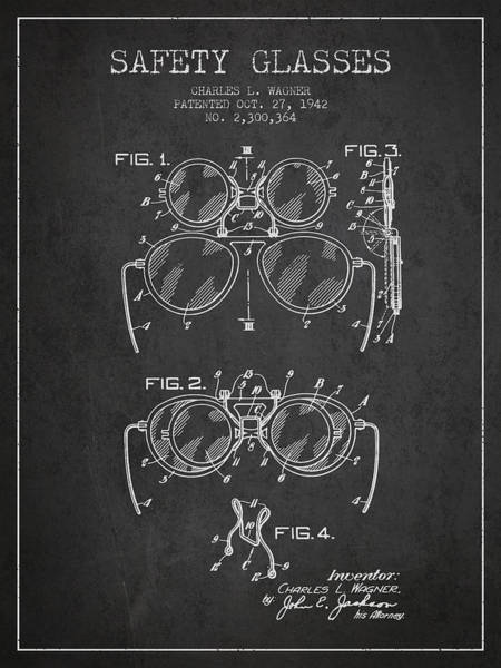 Wall Art - Digital Art - Safety Glasses Patent From 1942 - Dark by Aged Pixel