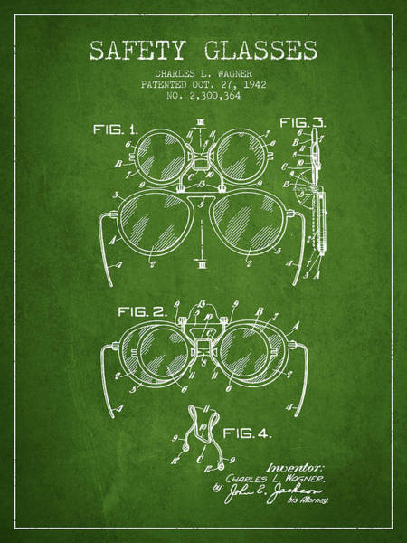 Wall Art - Digital Art - Safety Glasses Patent From 1942 - Green by Aged Pixel