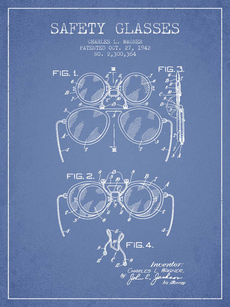 Wall Art - Digital Art - Safety Glasses Patent From 1942 - Light Blue by Aged Pixel