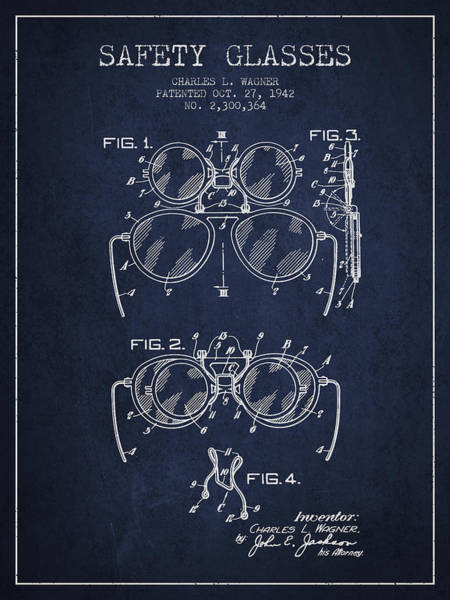 Wall Art - Digital Art - Safety Glasses Patent From 1942 - Navy Blue by Aged Pixel