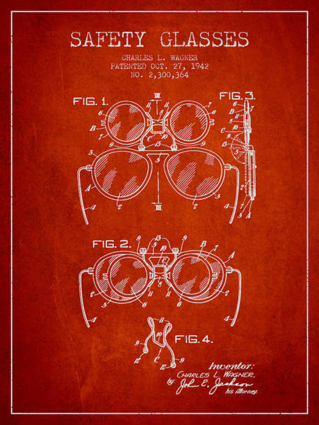 Wall Art - Digital Art - Safety Glasses Patent From 1942 - Red by Aged Pixel