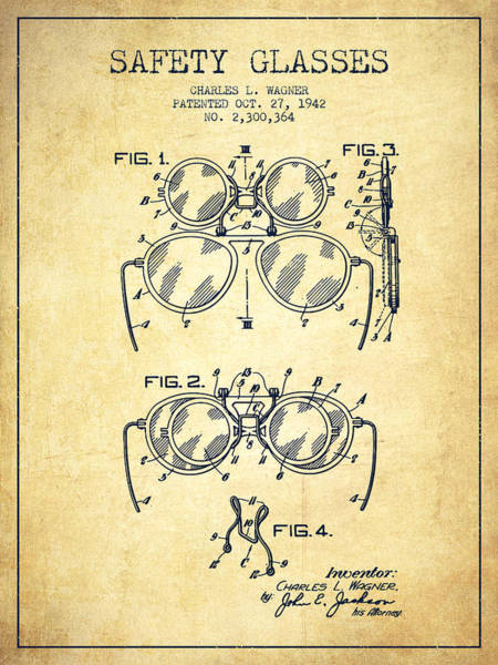 Wall Art - Digital Art - Safety Glasses Patent From 1942 - Vintage by Aged Pixel