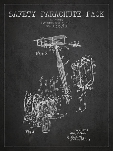 Wall Art - Digital Art - Safety Parachute Patent From 1919 - Charcoal by Aged Pixel