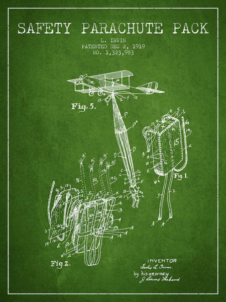 Wall Art - Digital Art - Safety Parachute Patent From 1919 - Green by Aged Pixel