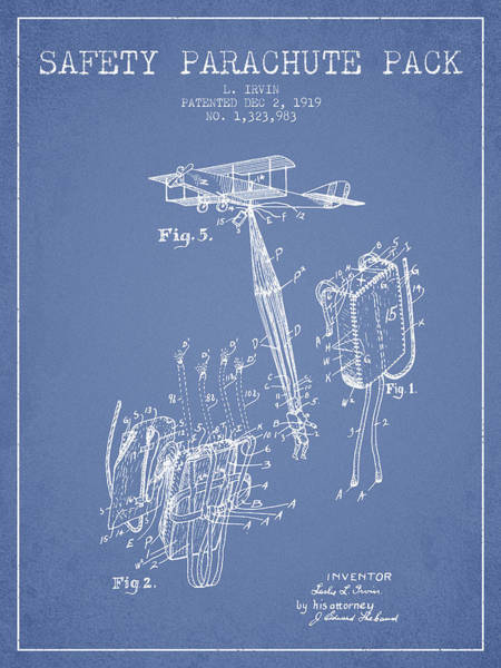 Wall Art - Digital Art - Safety Parachute Patent From 1919 - Light Blue by Aged Pixel