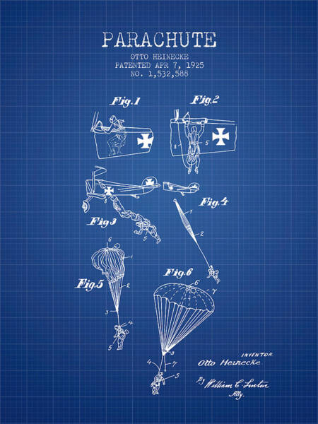Wall Art - Digital Art - Safety Parachute Patent From 1925 - Blueprint by Aged Pixel