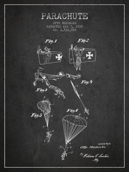 Wall Art - Digital Art - Safety Parachute Patent From 1925 - Charcoal by Aged Pixel