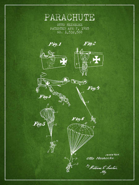 Wall Art - Digital Art - Safety Parachute Patent From 1925 - Green by Aged Pixel