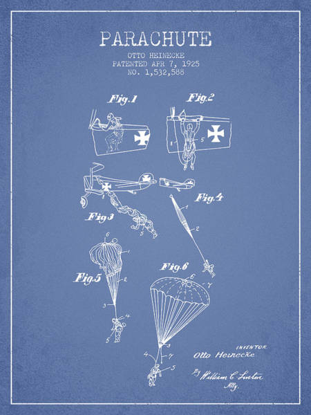 Wall Art - Digital Art - Safety Parachute Patent From 1925 - Light Blue by Aged Pixel