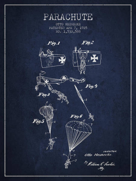 Wall Art - Digital Art - Safety Parachute Patent From 1925 - Navy Blue by Aged Pixel