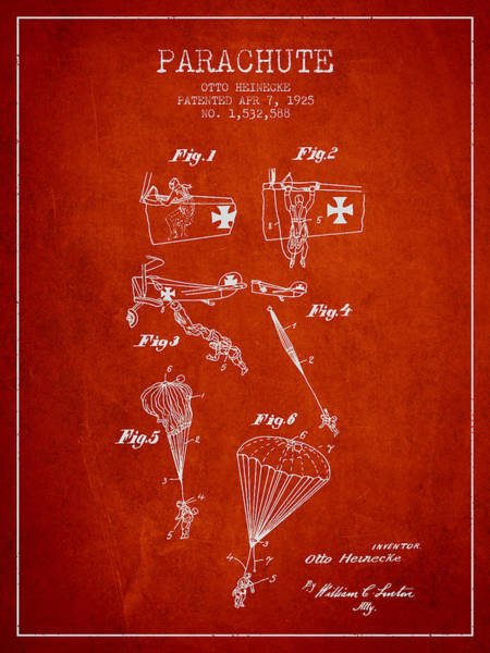 Wall Art - Digital Art - Safety Parachute Patent From 1925 - Red by Aged Pixel