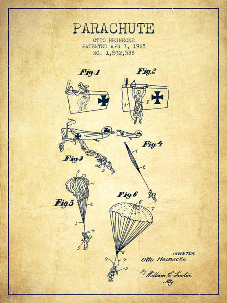 Wall Art - Digital Art - Safety Parachute Patent From 1925 - Vintage by Aged Pixel