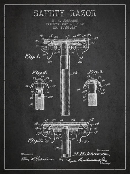 Groom Digital Art - Safety Razor Patent From 1920 - Dark by Aged Pixel