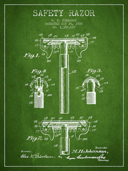 Groom Digital Art - Safety Razor Patent From 1920 - Green by Aged Pixel