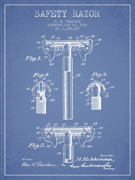Groom Digital Art - Safety Razor Patent From 1920 - Light Blue by Aged Pixel