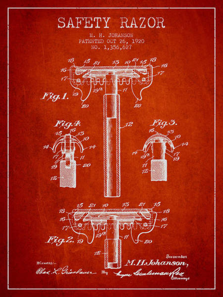 Groom Digital Art - Safety Razor Patent From 1920 - Red by Aged Pixel