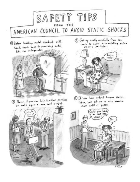 1993 Drawing - Safety Tips From The American Council To Avoid by Roz Chast