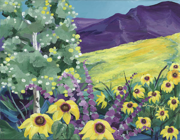 Painting - Sage And Sunflowers by Linda Rauch